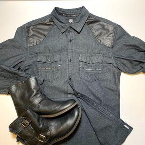 ROCK & REPUBLIC Men's Black Shirt Faux Leather SM